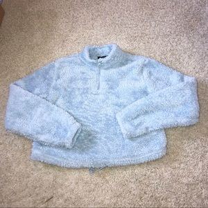 Blue Fuzzy Half Zip sweater